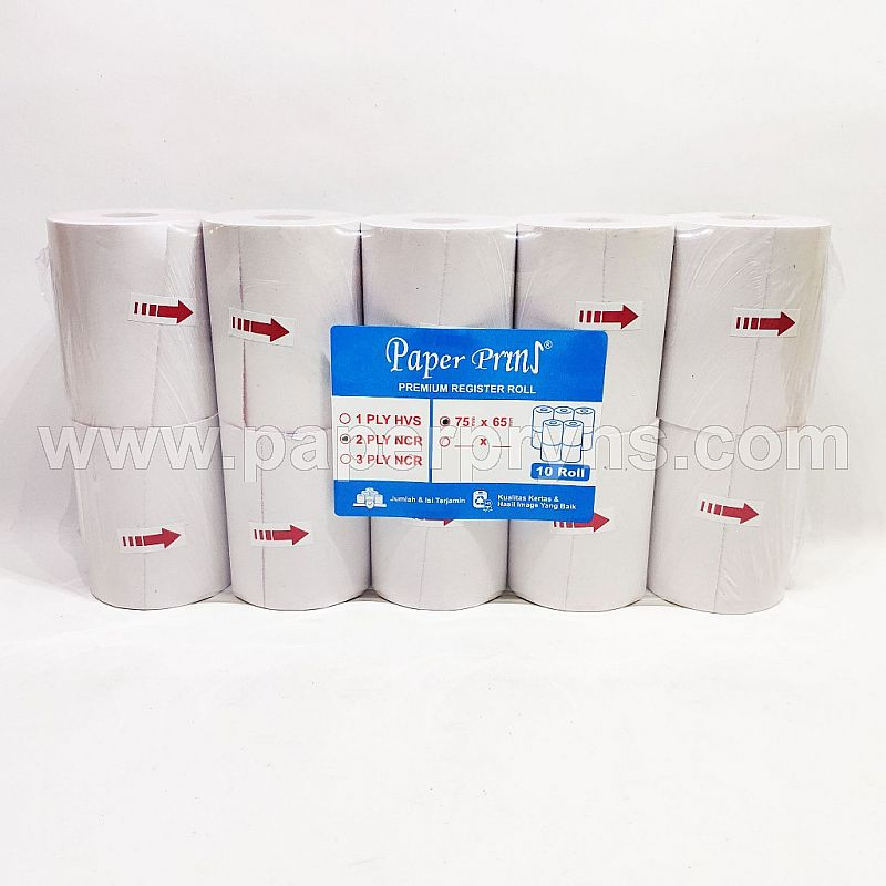 PAPERPRYNS REGISTER ROLL 75 X 65mm NCR 2PLY - PM